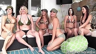 Six gal surroundings sapphic fuck-a-thon! Jelena Jensen, Vicky Vette, Maggie Green, Carmen Valentina, Rachel Storms and Its Cleo!