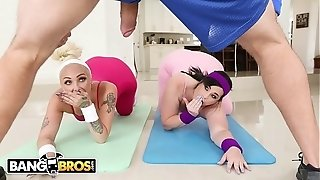 BANGBROS - phat ass white girl porn industry stars Virgo Peridot and Alexis Andrews plumb Their Trainer Jmac