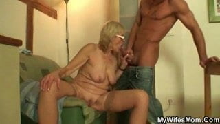 Beefy stud drilling his wifes mother