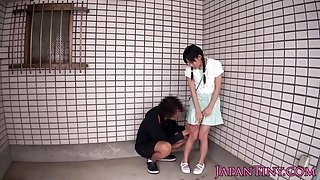 Lil' japanese stunner drinks jizz