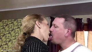 Skinny mature mommy gets anal intercourse and drinks piss