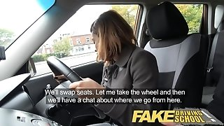 Fake Driving school young ebony learner likes inner ejaculation for