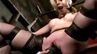 Bound nymph coerced to ejaculation
