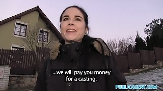 Public Agent Spanish college girl screws for party cash