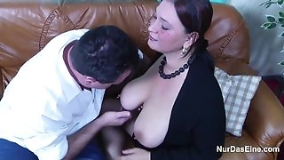 German mother With Monster tits in casting with parent for Money