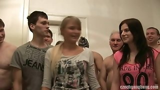 Girlfriend AND HER step-sister GET romped AT CZECH gang boink