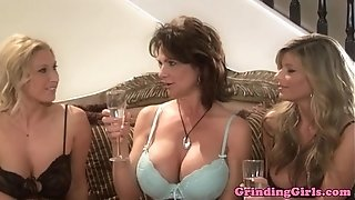 Bigtitted lezzy straponfucked in three way