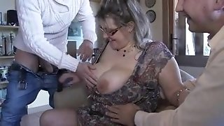 French mature Julia gang-fucked in stocking