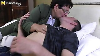 Taboo mature mother romps her young fellow