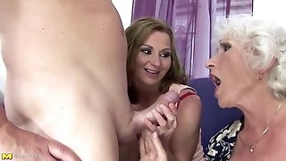 Mom and granny drilled and peed on by son-in-law