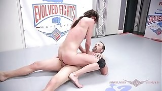 Sofie Marie bare grappling struggle gets finger-tickled rock hard then pounded rock tighter
