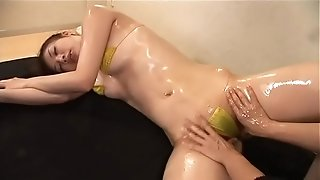 Nana Kawai micro bathing suit yellow legs-fetish grease rubdown pic movie solo