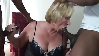 Mature ash-blonde blow 2 dark-hued knobs