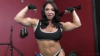 The Muscle princess Brandi Mae teaches a cockslut to adore Her - female domination