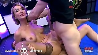 Supah sizzling stunner Elen Million dual torn up by Monster meatpipes - German Goo chicks