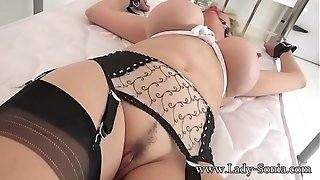 British mature girl Sonia gagged and bound to the bed