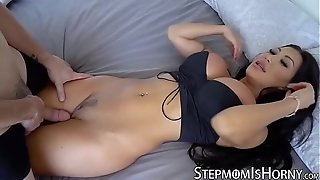 Oriental vixen August Taylor juggling on stepson fuck-stick