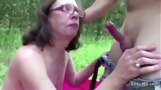 Youthful boy tempt 71yr older grandma to nail her anal invasion Outdoor