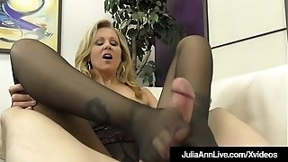 Female dominance cougar Julia Ann taunts A marionette weenie With stocking!