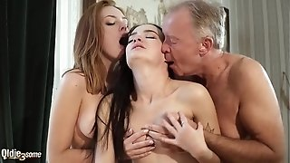 Super-fucking-hot elder and youthfull threeway fuckfest during a job interview