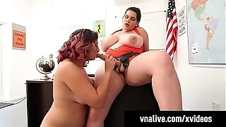 Curvaceous Classmates Angelina Castro & Gia enjoy strap dildo screw!