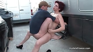 First-timer sandy-haired stiff anal invasion nailed and fisted by the cab driver outdoor