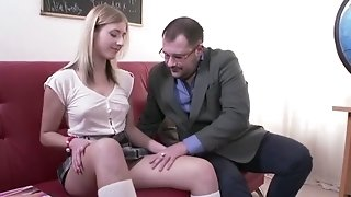 Dirty professor drills whorey college girl
