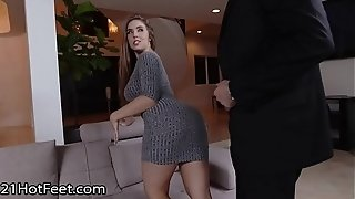 Huge-boobed stunner Lena Paul Gets Cummy soles After plumb